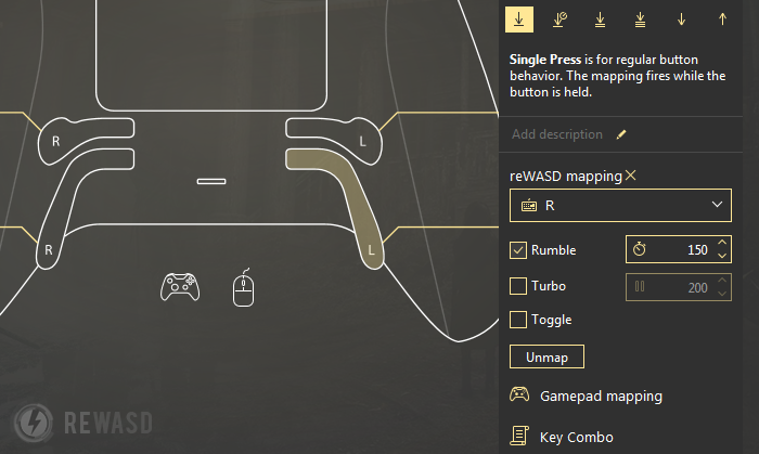 Xbox One Elite Controller App Map Controller to Keyboard