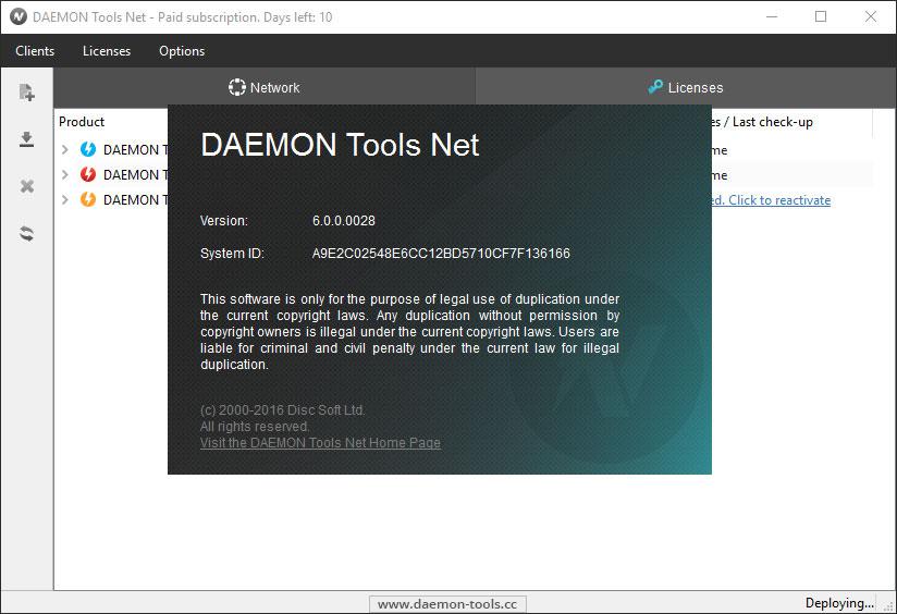 daemon tools license checking